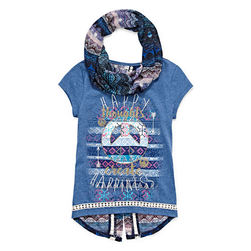 Beautees Short-Sleeve Graphic Top and Print Scarf - Girls 7-16