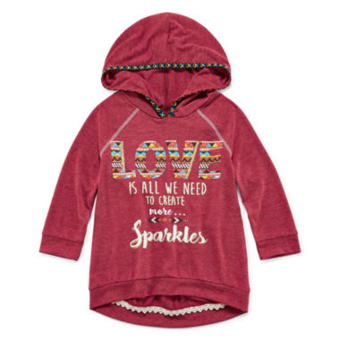 jcpenney.com | Beautees 2-pc. 3/4-Sleeve High-Low Hoodie with Necklace - Girls 7-16