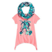 One Step Up® Short-Sleeve Graphic Sharkbite Tee with Print Scarf - Girls 7-16