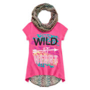 One Step Up® Short-Sleeve Graphic Print Tee with Print Scarf - Girls 7-16