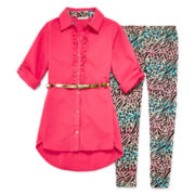 One Step Up® 2-pc. Belted Poplin Top and Printed Leggings Set - Girls 7-12