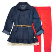 XOXO® 3/4-Sleeve Chambray Belted Top and Solid Leggings Set - Girls 7-12