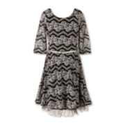 Speechless® 3/4-Sleeve Lace Skater Dress - Girls Plus