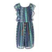 Speechless® Flutter-Sleeve Aztec-Print Chiffon Dress - Girls Plus