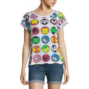Short-Sleeve Roll-Cuff Allover Print Tee