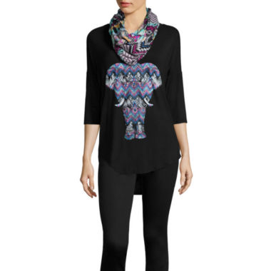jcpenney.com | 3/4-Sleeve Screen-Printed Tee with Scarf - Juniors