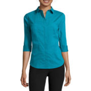 Worthington® 3/4-Sleeve Button-Front Oxford Shirt - Petite