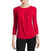 Liz Claiborne® 3/4-Sleeve Pleat-Front Top