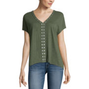a.n.a® Short-Sleeve Embellished Top