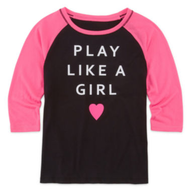 jcpenney.com | Xersion™ 3/4-Sleeve Graphic Raglan Tee - Girls 7-16 and Plus