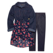 XOXO® 2-pc. 3/4-Sleeve Chambray Top and Leggings Set - Girls 7-12