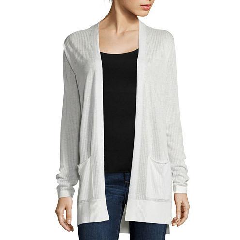 St. John's Bay® Long-Sleeve Ribbed Flyaway Cardigan Sweater