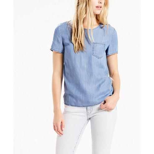 Levi's® Short Sleeve Scoop Neck Chambray Blouse