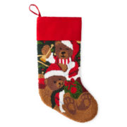 North Pole Trading Co. Monogrammable Needlepoint Beary Merry Christmas Stocking