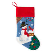 Snowman with Cardinal Stocking