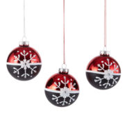 Peppermint Twist Set of 3 Glass Snowflake Ball Ornaments