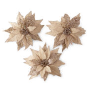 Snowy Day Set of 3 Burlap Poinsettia Picks