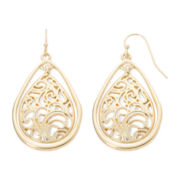 Liz Claiborne® Gold-Tone Lacy Teardrop Drop Earrings