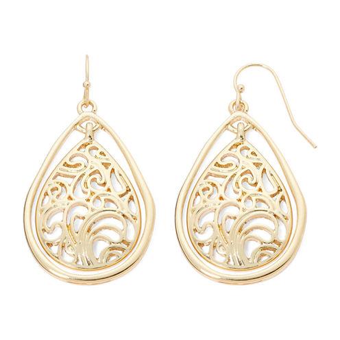 Liz Claiborne® Gold-Tone Lacy Teardrop Drop Earrings