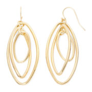 Liz Claiborne® Gold-Tone Orbital Oval Drop Earrings