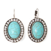 ROX by Alexa Genuine Turquoise and Rhinestone Oval Earrings