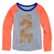 Okie Dokie® Long-Sleeve Baseball Tee - Preschool Girls 4-6x