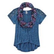 Knit Works Studded Peplum Top and Scarf - Girls 7-16