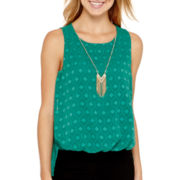 by&by Sleeveless Textured High-Low Necklace Top