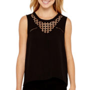 XOXO® Sleeveless Lattice-Front Top