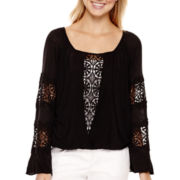 XOXO® Long-Sleeve Knit Peasant Blouse