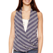 Heart & Soul® Sleeveless Striped Layered Necklace Top