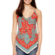 Heart & Soul® Scarf Print Necklace Tank Top