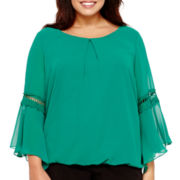 by&by Bell-Sleeve Chiffon Blouse - Plus