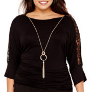 by&by Lace-Shoulder Necklace Top - Plus