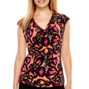 Worthington® Sleeveless Rouched Cowl-Neck Shirt - Petite