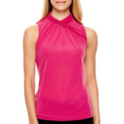 Worthington® Chiffon Mesh Wrap-Neck Tank Top - Tall