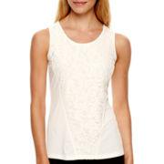 Worthington® Sleeveless Lace-Inset Top