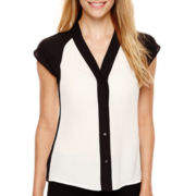 Worthington® Colorblock Button Front Blouse - Tall