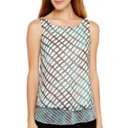 Worthington® Sleeveless Double Layer Blouse