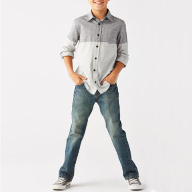 jcpenney.com | Arizona Long-Sleeve Colorblock Woven Shirt or Belted Original Fit Jeans - Boys 8-20