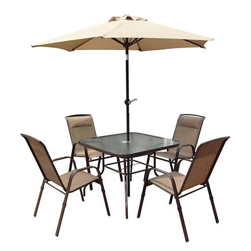 Corliving 5-pc. Patio Dining Set With Tilting Umbrella