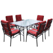 Corliving 7-pc. Charcoal Black And Red Patio Diningset