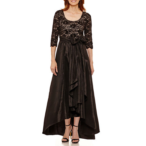 R & M Richards 3/4 Sleeve Party Dress-Petites