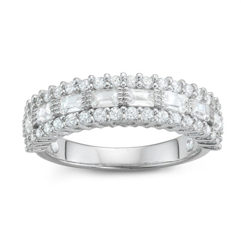 Diamonart Womens 1 1/3 CT. T.W. Lab Created White Cubic Zirconia Sterling Silver Band