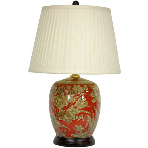 "Oriental Furniture 21"" Floral Bouquet Jar Table Lamp"""