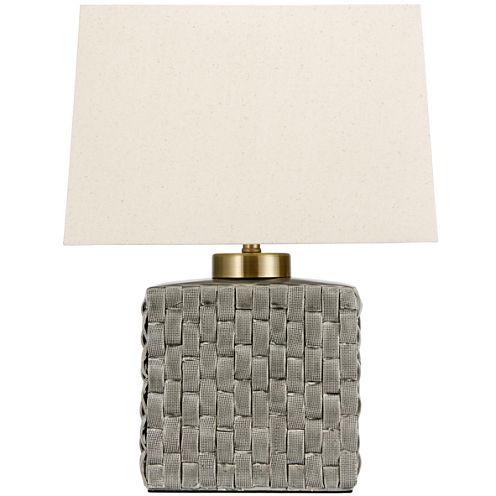 "Oriental Furniture 23"" Basket Weave Gray PorcelainJar Table Table Lamp"""