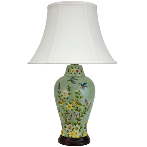 "Oriental Furniture 24"" Birds and Flowers PorcelainJar Table Table Lamp"""