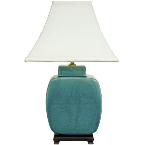 "Oriental Furniture 23"" Azure Porcelain Jar Table Lamp"""