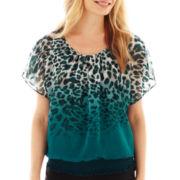 Alyx® Flutter-Sleeve Smocked Blouse - Petite