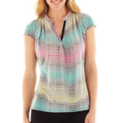 Worthington® Short-Sleeve V-Neck Top - Petite